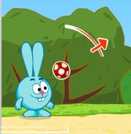 Ежик и Крош пинают мяч