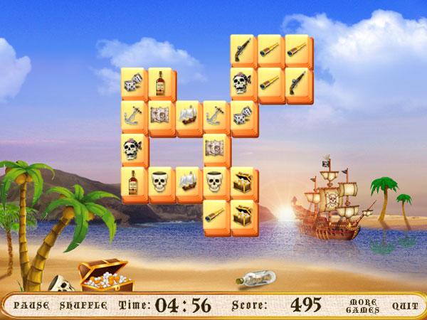 Кадр из игры маджонг пиратский остров
