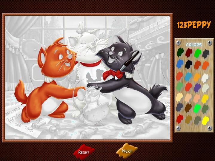 играть в раскраска коты аристократы онлайн флеш игру