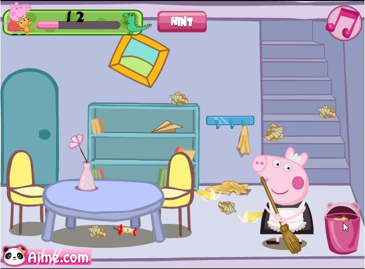 Играть свинка пеппа уборка