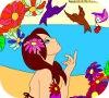 Игра Раскраска: Девочка и птицы