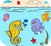 Game Sea and fishes coloring