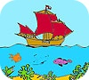Game Ship on the  sea coloring