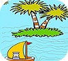 Game The boatman in the ocean coloring