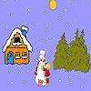 Игра Раскраска: Девочка и  снеговик