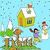 Игра Раскраска: Рождественский снеговик