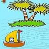 Игра Раскраска: Корабль в океане