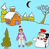 Игра Раскраска: Снеговик под луной