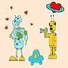 Игра Раскраска: Любовь роботов