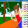 Игра Раскраска: Девушка на качелях