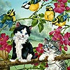 Игра Пятнашки: Котики и птички
