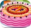 Game Cake with fruits. Decoration