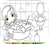 Игра Раскраска: Маленькая принцесса в ванне
